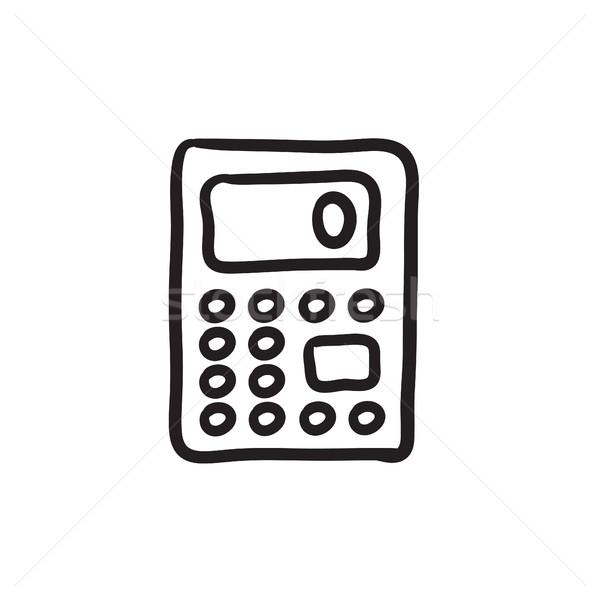 Kalkulator szkic ikona wektora odizolowany Zdjęcia stock © RAStudio