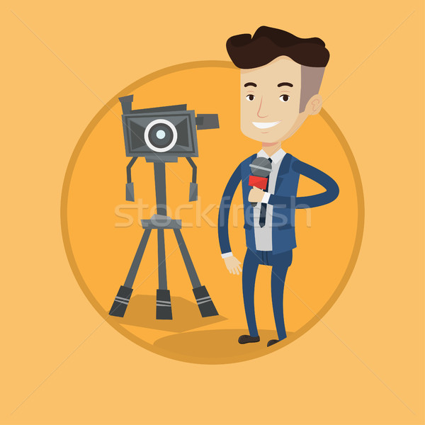 TV reporter with microphone and camera. Stock photo © RAStudio