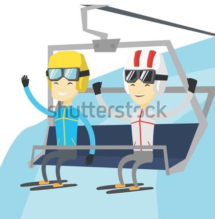 два счастливым лыжных курорта кавказский мужчин Сток-фото © RAStudio