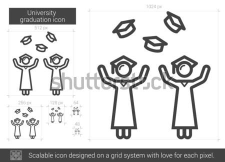 üniversite mezuniyet hat ikon vektör yalıtılmış Stok fotoğraf © RAStudio