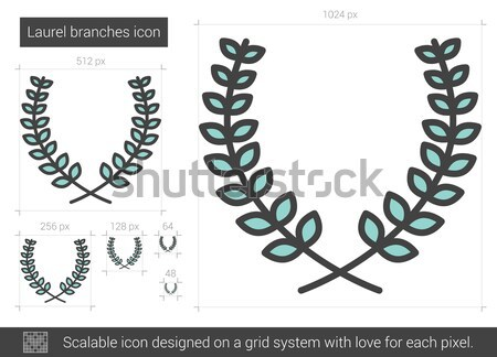Laurel branches line icon. Stock photo © RAStudio