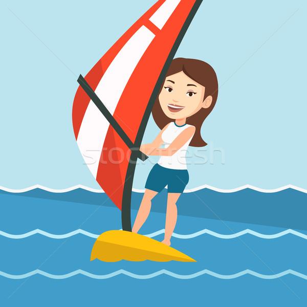 Fiatal nő windszörf tenger kaukázusi nő fényes Stock fotó © RAStudio