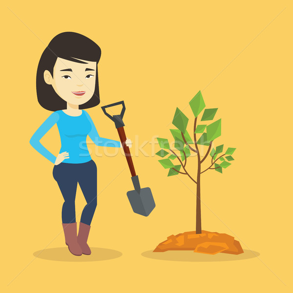 Woman plants tree vector illustration. Stock photo © RAStudio