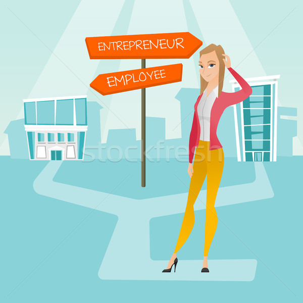 Confused woman choosing career pathway. Stock photo © RAStudio