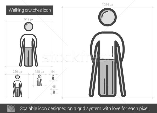 Lopen krukken lijn icon vector geïsoleerd Stockfoto © RAStudio