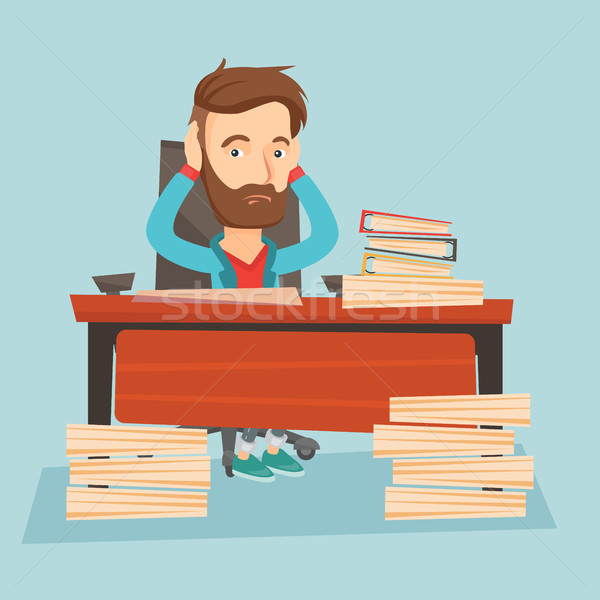 Despair business man working in office. Stock photo © RAStudio