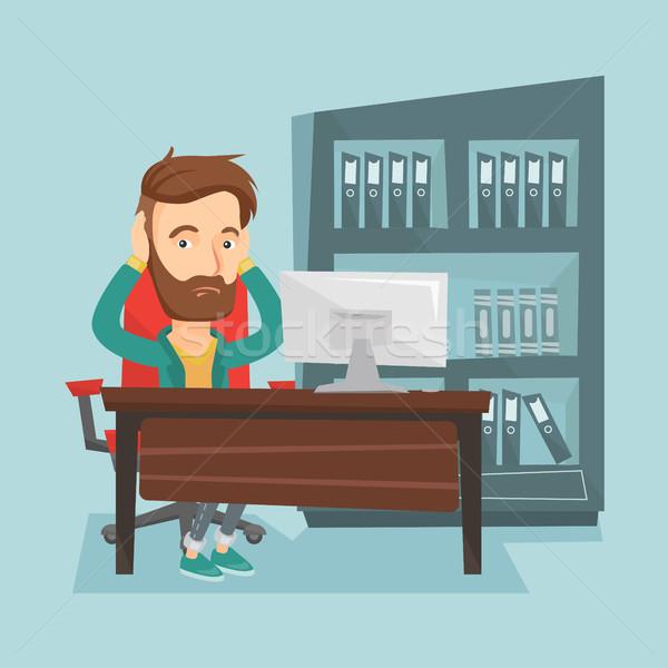 Stressed employee working in office. Stock photo © RAStudio