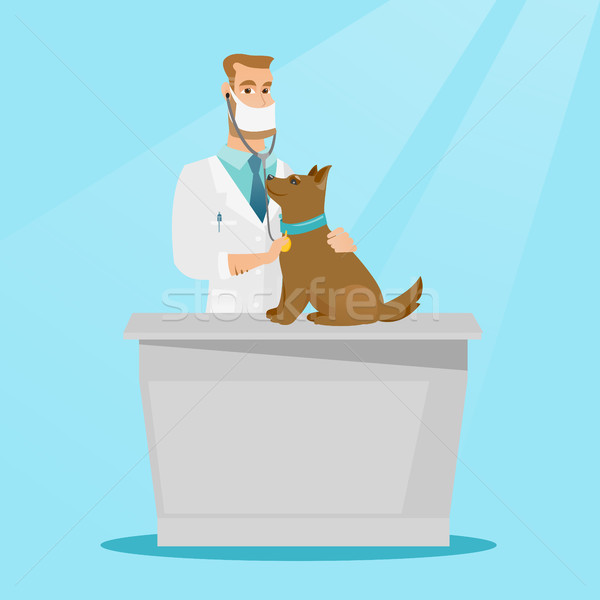Veterinarian examining dog vector illustration. Stock photo © RAStudio