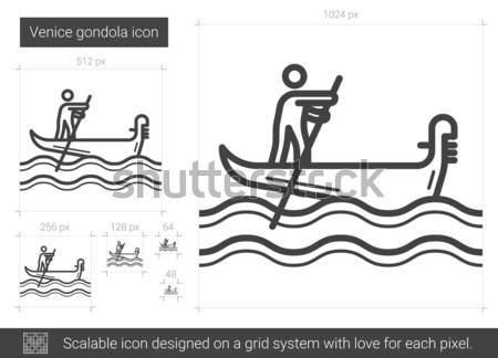 Венеция гондола линия икона вектора изолированный Сток-фото © RAStudio