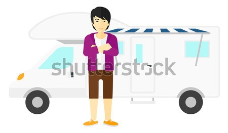Reiziger permanente minibus jonge moslim rugzak Stockfoto © RAStudio