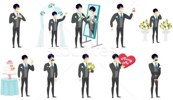 Young asian groom vector illustrations set. Stock photo © RAStudio