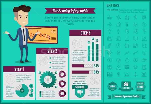 Negocios quiebra infografía plantilla decepcionado caucásico Foto stock © RAStudio