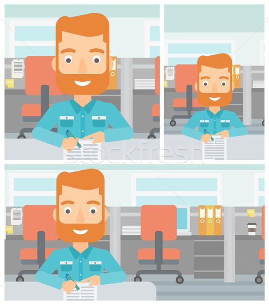 Signing of business documents vector illustration. Stock photo © RAStudio