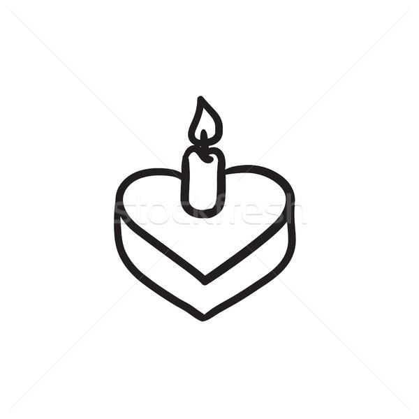 Torta gyertya rajz ikon vektor izolált Stock fotó © RAStudio