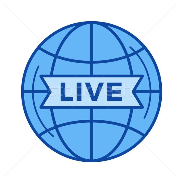 Live omroep lijn icon vector geïsoleerd Stockfoto © RAStudio