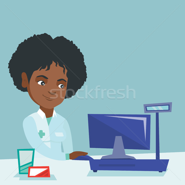 薬剤師 作業 コンピュータ ドラッグストア アフリカ 医療 ストックフォト © RAStudio
