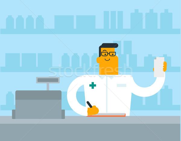 Biały farmaceuta piśmie recepta Zdjęcia stock © RAStudio