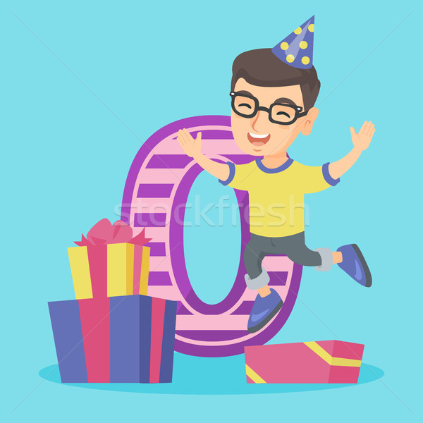 Caucasian boy celebrating first birthday. Stock photo © RAStudio