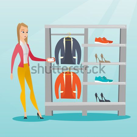 Shelves with clothes and shoes vector illustration Stock photo © RAStudio