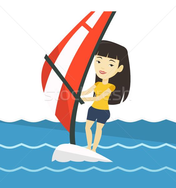 Mulher jovem windsurf mar asiático mulher em pé Foto stock © RAStudio