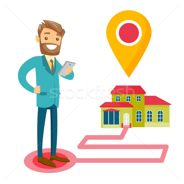 Real estate agent and house with map pointer. Stock photo © RAStudio