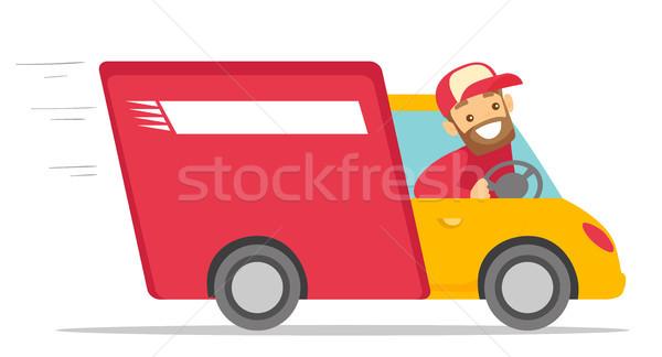 Blanche courrier conduite camion de livraison homme blanc Photo stock © RAStudio