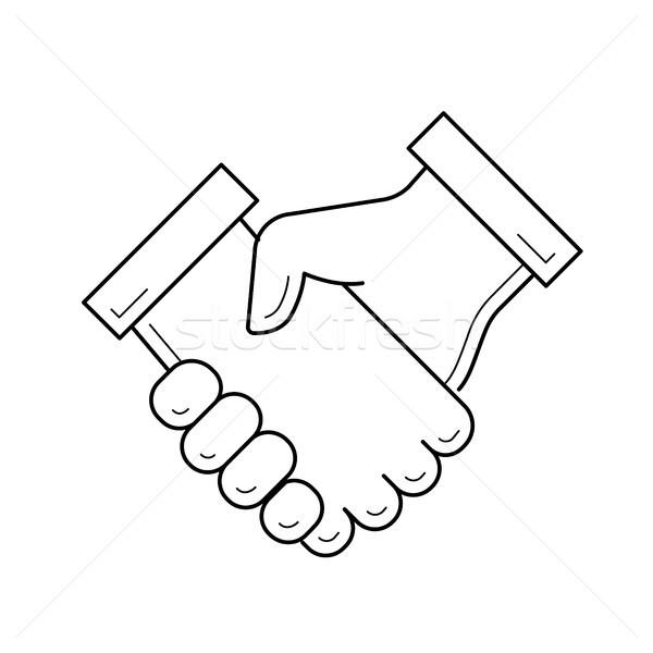 Kézfogás vektor vonal ikon izolált fehér Stock fotó © RAStudio