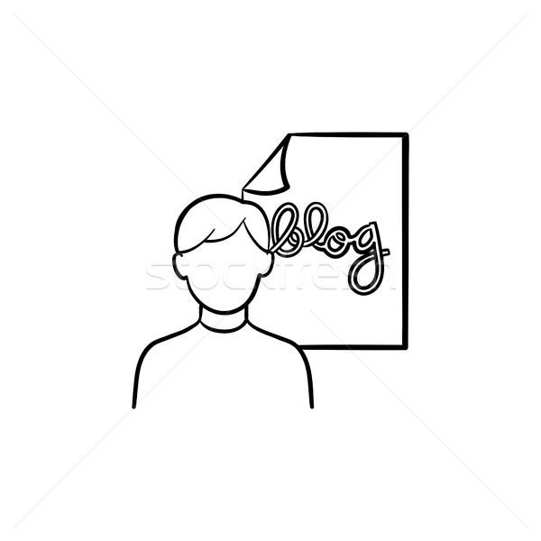 Online blog hand drawn outline doodle icon. Stock photo © RAStudio