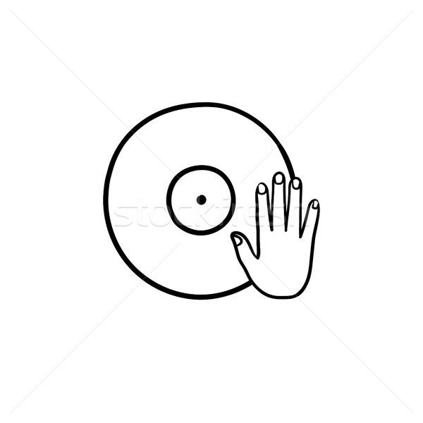DJing and remixing hand drawn outline doodle icon. Stock photo © RAStudio