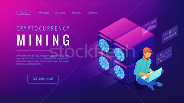 Isometric cryptocurrency mining landing page concept. Stock photo © RAStudio