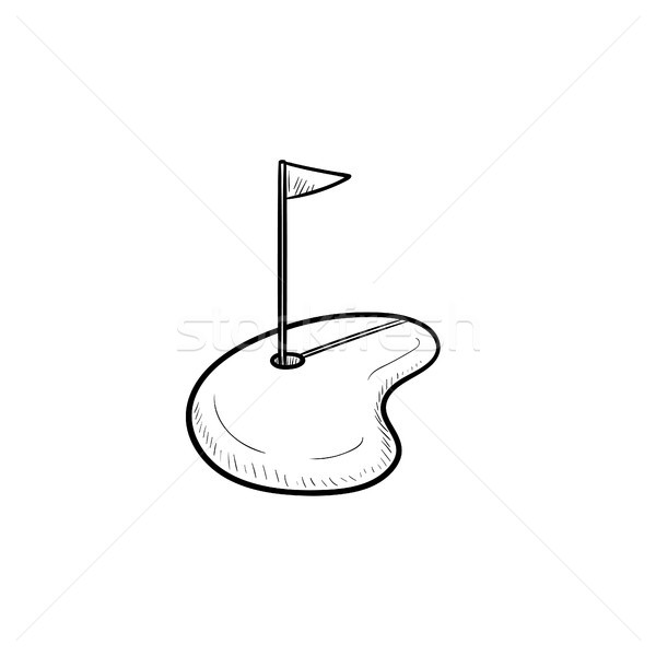 Stock photo: Golf hole and flag hand drawn outline doodle icon.