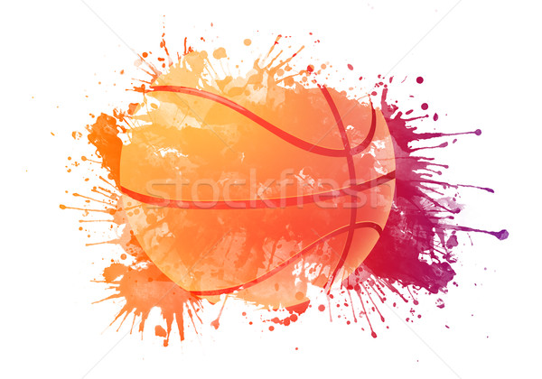 Basquetebol bola isolado branco arco-íris cair Foto stock © RAStudio