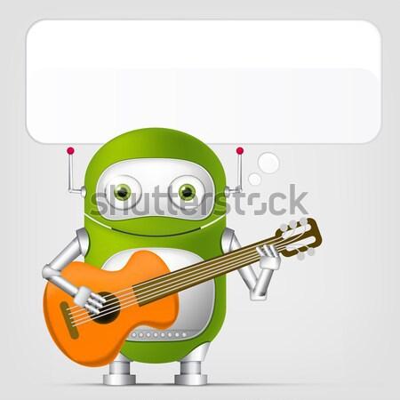 Vicces szörny gitáros rajzfilmfigura izolált szürke Stock fotó © RAStudio