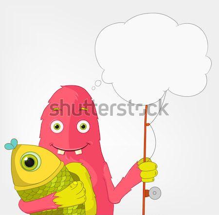 Funny Monster. Fisherman. Stock photo © RAStudio