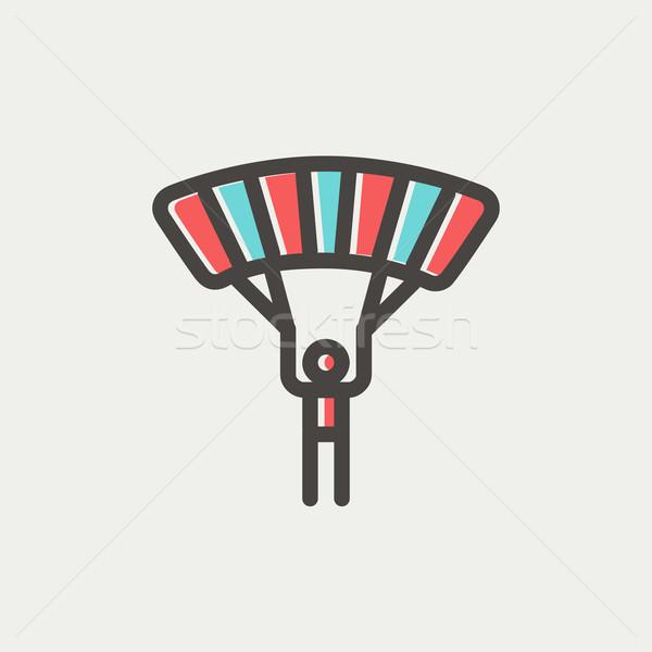 Skydiving dun lijn icon web mobiele Stockfoto © RAStudio