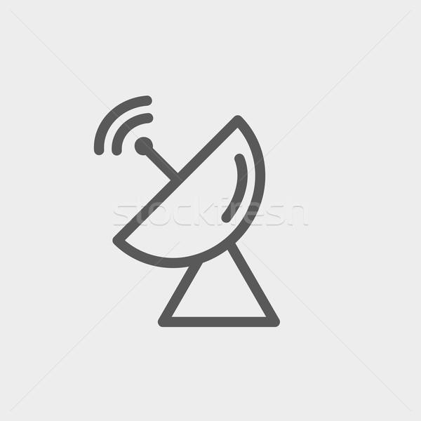 Radar antena satelitarna cienki line ikona internetowych Zdjęcia stock © RAStudio