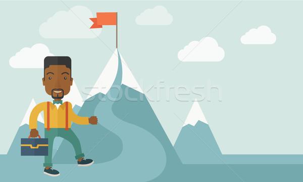 Afrikai üzletember tart táska mászik felfelé Stock fotó © RAStudio