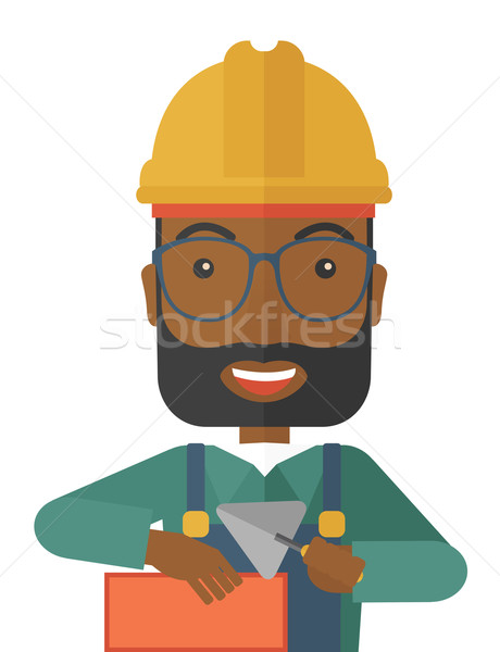 Czarny mason człowiek strony szczęśliwy budowy Zdjęcia stock © RAStudio