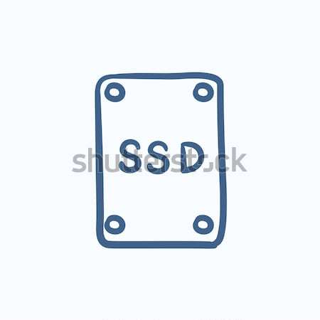 SSD Solid state drive drawn in chalk Stock photo © RAStudio
