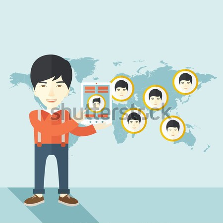 World map with same faces every destination. Stock photo © RAStudio