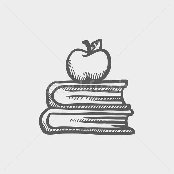 Foto stock: Livros · maçã · topo · esboço · ícone · teia
