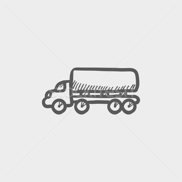 Teslim kamyon kroki ikon web hareketli Stok fotoğraf © RAStudio