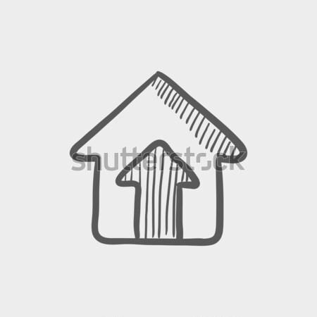 Habitação agente esboço ícone teia móvel Foto stock © RAStudio
