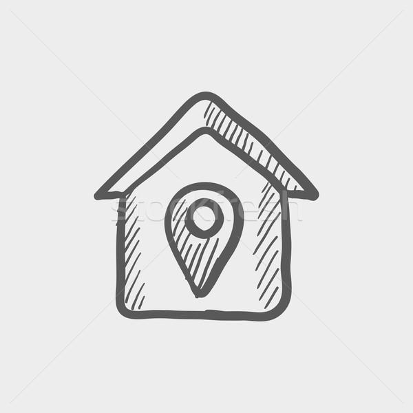 Location of the house sketch icon Stock photo © RAStudio