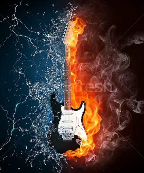 Elektrogitar yangın su yalıtılmış siyah bilgisayar grafikleri Stok fotoğraf © RAStudio
