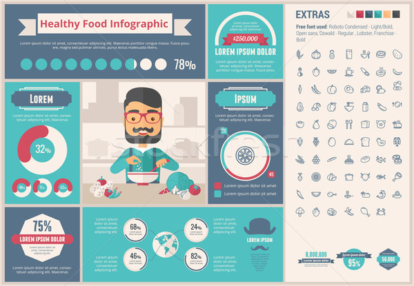 Stock photo: Healthy Food flat design Infographic Template
