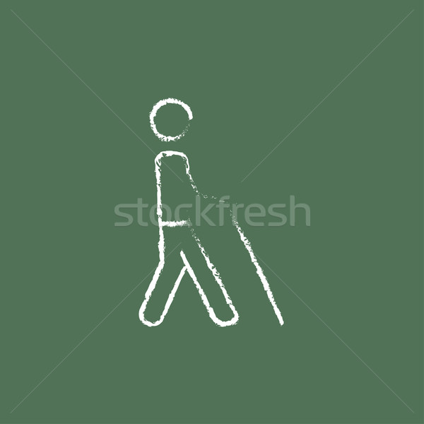 Blind man with stick icon drawn in chalk. Stock photo © RAStudio