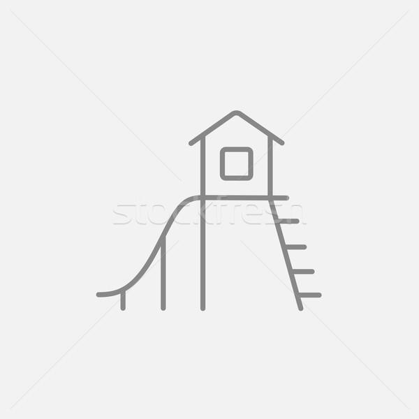 Csúszda vonal ikon háló mobil infografika Stock fotó © RAStudio