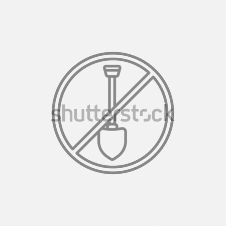 Shovel forbidden sign line icon. Stock photo © RAStudio