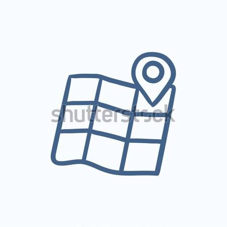 Map with pointer line icon. Stock photo © RAStudio